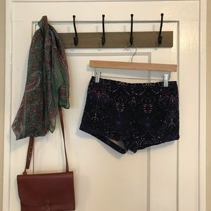 Urban Outfitters Paisley Velvet Shorts XS